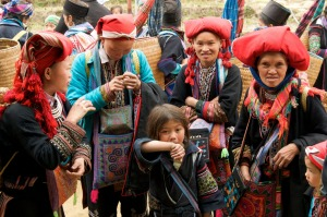 A group of women from the Red Dao tribe in Sapa Northern Vietnam.