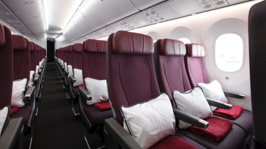 Economy class on the Qantas Dreamliner.