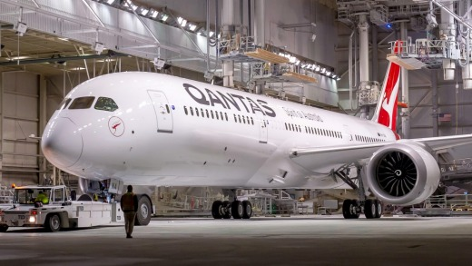 A new Qantas 787-9 Dreamliner rolls out of the Boeing factory in Everett, near Seattle.