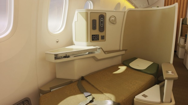 Business class on board the Vietnam Airlines Dreamliner.