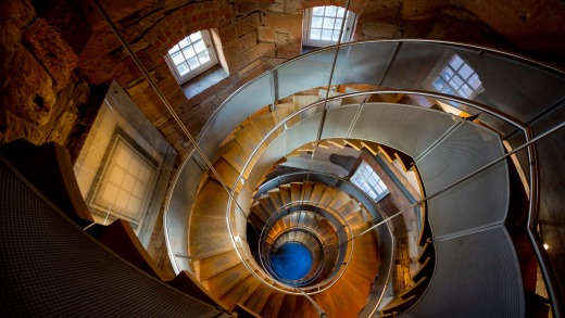 The spiral staircase to the viewing platform in the Mackintosh Tower at the Lighthouse - Scotland's National Centre for ...