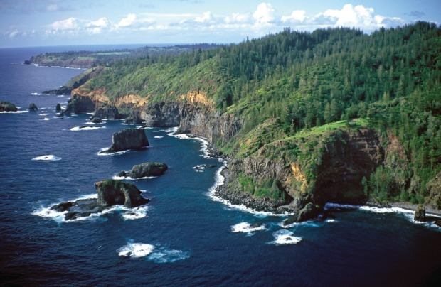 From above, Norfolk Island looks like a chunk of New Zealand's bucolic North Island that has broken off and drifted ...