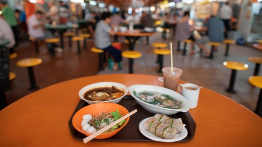 Dine at the Maxwell Road Hawker Centre.