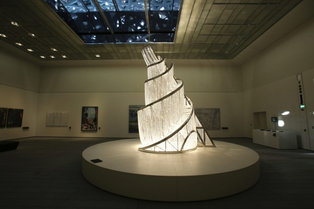"In ""Fountain of Light"" by Ai Weiwei, is displayed at the Louvre Museum in Abu Dhabi, United Arab Emirates."