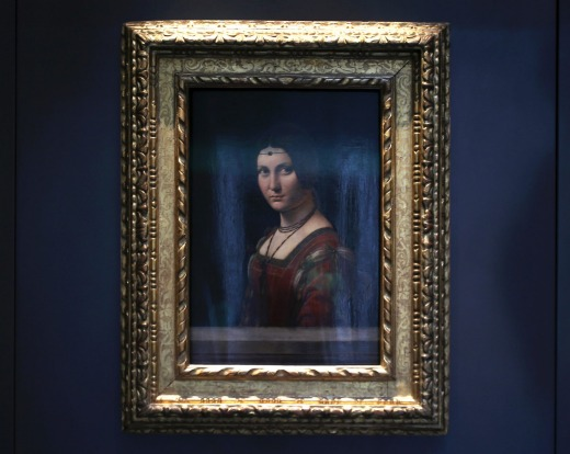 """The """"Portrait of a Woman"""" by Leonardo da Vinci, is displayed at the Louvre Museum in Abu Dhabi, United Arab Emirates. ..."""