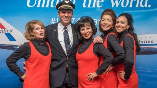United Airlines' crew donned the airlines' 70s-style uniforms for the final 747 flight.
