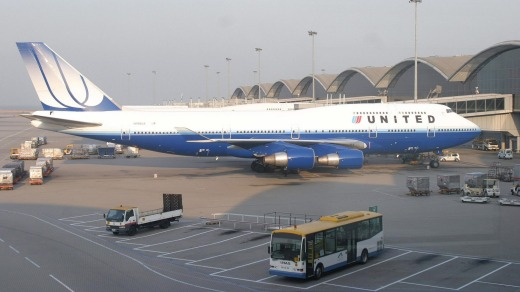 An United Airlines jumbo jet in 2009.