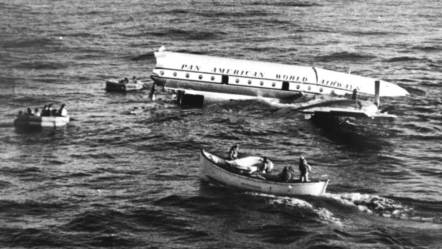 The wreckage of Pan Am Flight 6 after it ditched in the Pacific in 1956.