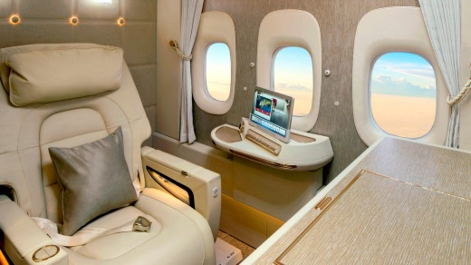 Emirates' new first class suites.
