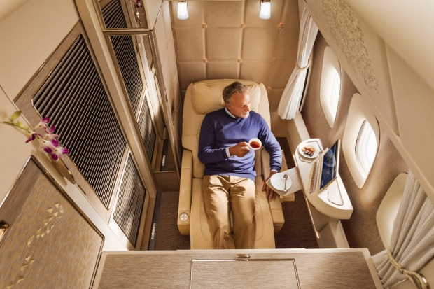 Emirates unveiled new Mercedes Benz-inspired seats for its Boeing 777s in November 2017. Pictured: The new first class suite.