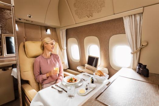 Emirates' new first class suite on board its Boeing 777s.