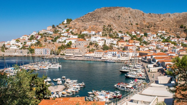 Harbour of Hydra Town, Greece.