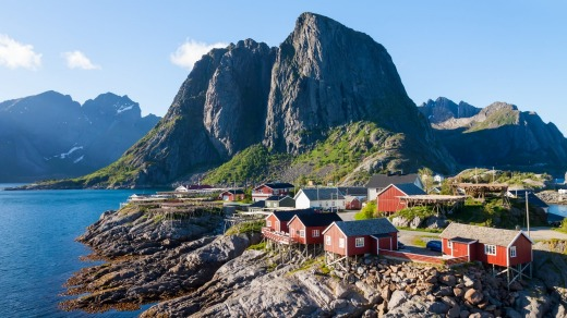Scenic town of Reine by the fjord on Lofoten islands in Norway.
