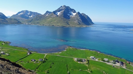 View from the summit of Haugheia in the Lofoten Islands.