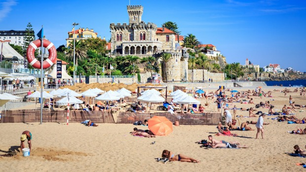 Praia do Tamariz beach in elegant coastal retreat Estoril.