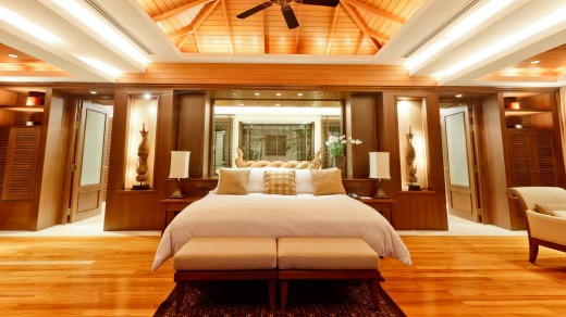 A pool villa's bedroom.