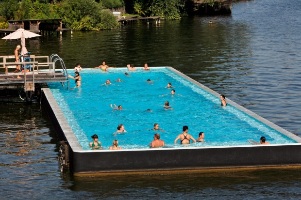 BADESCHIFF AN DER ARENA, BERLIN. Trust boho Berlin to have a hypercool urban pool made from a repurposed barge, afloat ...