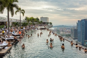 Swimming pool of the Marina Bay Sands hotel in Singapore.