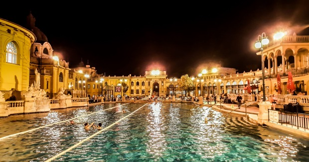 SZECHENYI BATHS, BUDAPEST. Like your pool served with a dash of style? Oozing glamour and elegance, this ornate, ...