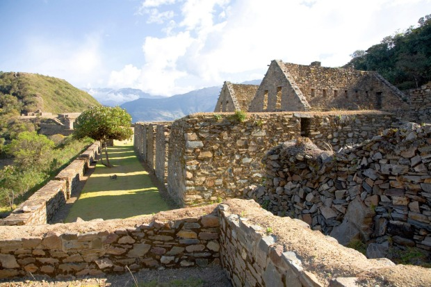 Ruins of the Inca city Choquequirao over the valley of Rio Apurimac, Peru.