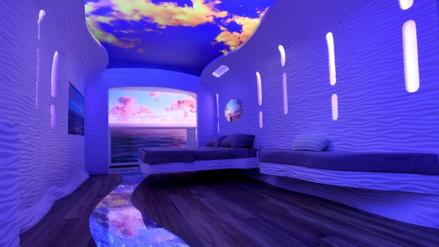 A concept for future staterooms imagines floors, ceilings and walls that can change to create a 'choose your own ...