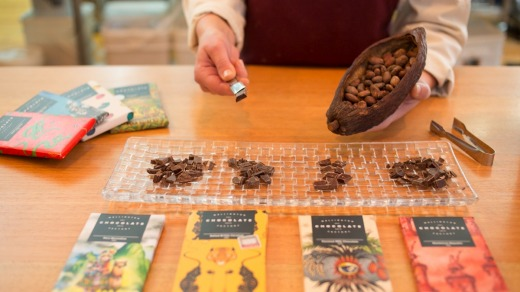 A tasting of bean-to-bar chocolate at Wellington Chocolate Factory, Hannah's Lane.