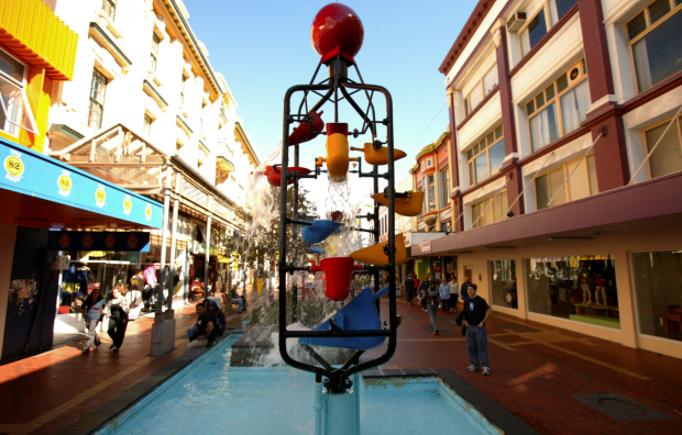 Wellington's iconic Bucket Fountain on Cuba Street.