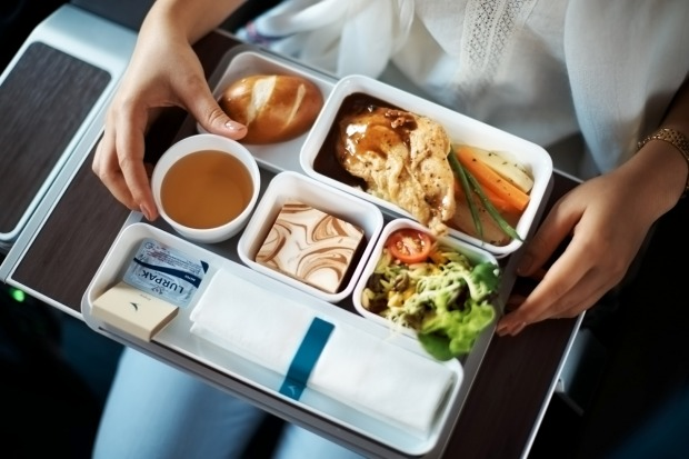 A Cathay Pacific premium economy meal on board the A350.