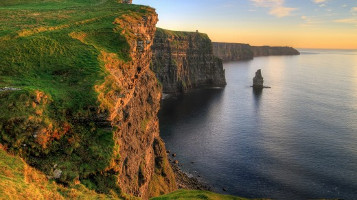The fabled Cliffs of Moher at sunset.