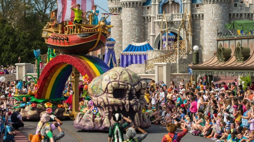 Stories and characters from Fantasyland come to life in the Disney Festival of Fantasy Parade.