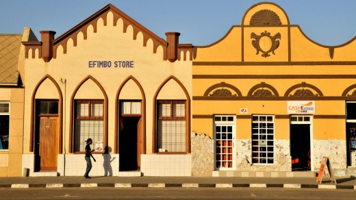 The old colonial facades in Backer Street, Swakopmund.