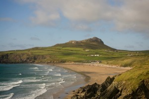 The view across Whitesands Bay near St David's on the Pembrokeshire coast in Wales.
