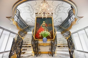 The lobby of Uniworld's Maria Theresa, with a portrait of the Austrian empress.