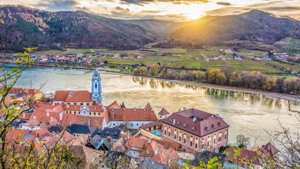 Wachau Valley with the historic town of Durnstein and the Danube.
