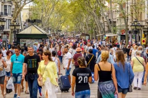 La Ramblas, Barcelona. The Spanish word for 'guiri' applies to foreigners, typically from northern Europe or North ...