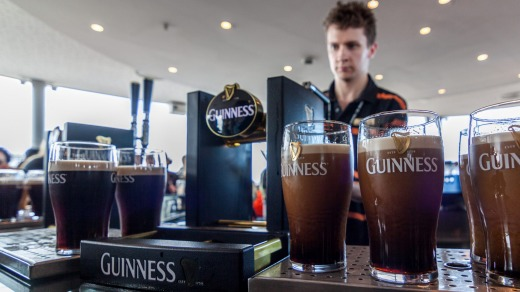 Gravity Bar, in the Guinness Storehouse, is a seventh-floor glass atrium that offers 360° views over Dublin..