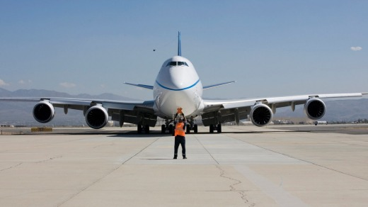 A 747 freighter ready for take off.