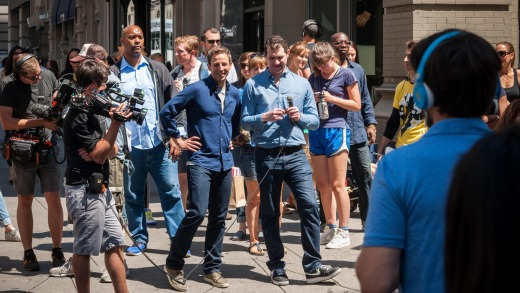 Seth Meyers, centre, host of Late Night with Seth Meyers on NBC, walks down Fifth Avenue in the Flatiron neighborhood in ...