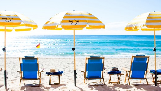 Enjoy the beach club service at Bon Sol, a luxe boutique holiday home in a former 1960s brick unit complex on the Gold Coast.
