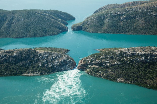 Horizontal Falls, WA: In a series of gaps between the Kimberley's McLarty Ranges, seawater builds up faster on one side ...