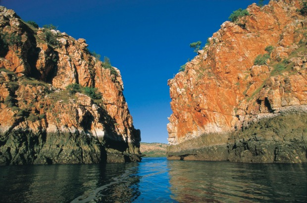 View of the tidal Horizontal Waterfall, at Walcott Inlet Horizontal Falls, Talbot Bay, Western Australia.