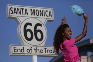 Route 66 stops just short of the Pacific Ocean.