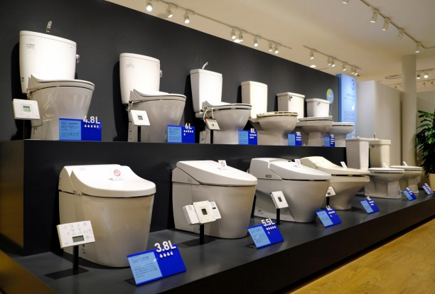 Evolution of toilet bowls in Toto Museum, Kitakyushu, Japan.