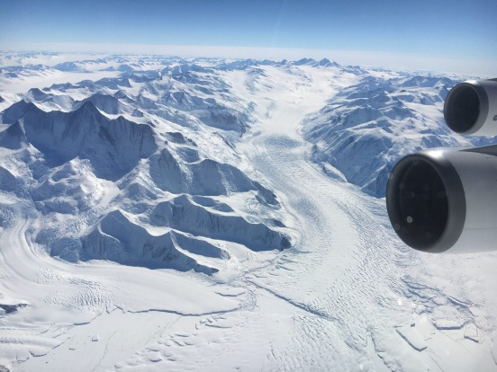 Huge glaciers carve their way through the mountains in Antarctica.