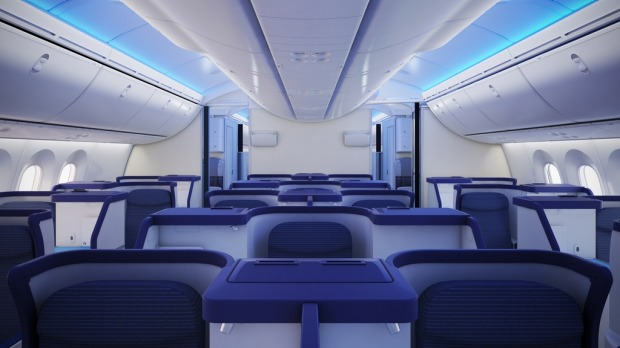 ANA's Dreamliner business class is decorated in blue hues.