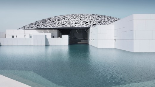 The exterior of the Louvre Abu Dhabi.
