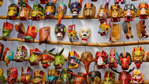 Mayan wooden masks for sale in  Chichicastenango.