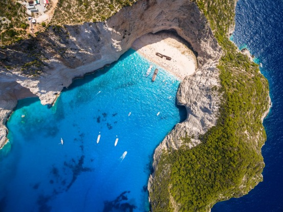 5. Aerial view of Navagio Beach shipwreck in Greece.