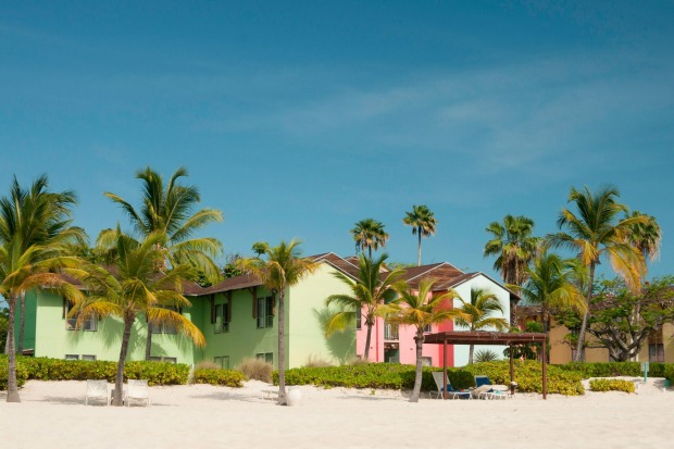 1. Pastel-coloured Caribbean homes on Grace Bay Beach, Providenciales, Turks and Caicos Islands, West Indies.