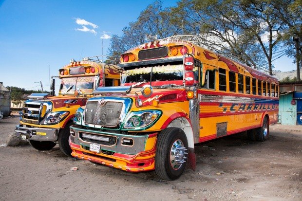 Chicken bus, Guatemala. What happens to North American school buses when they're deemed too old for regular service? ...